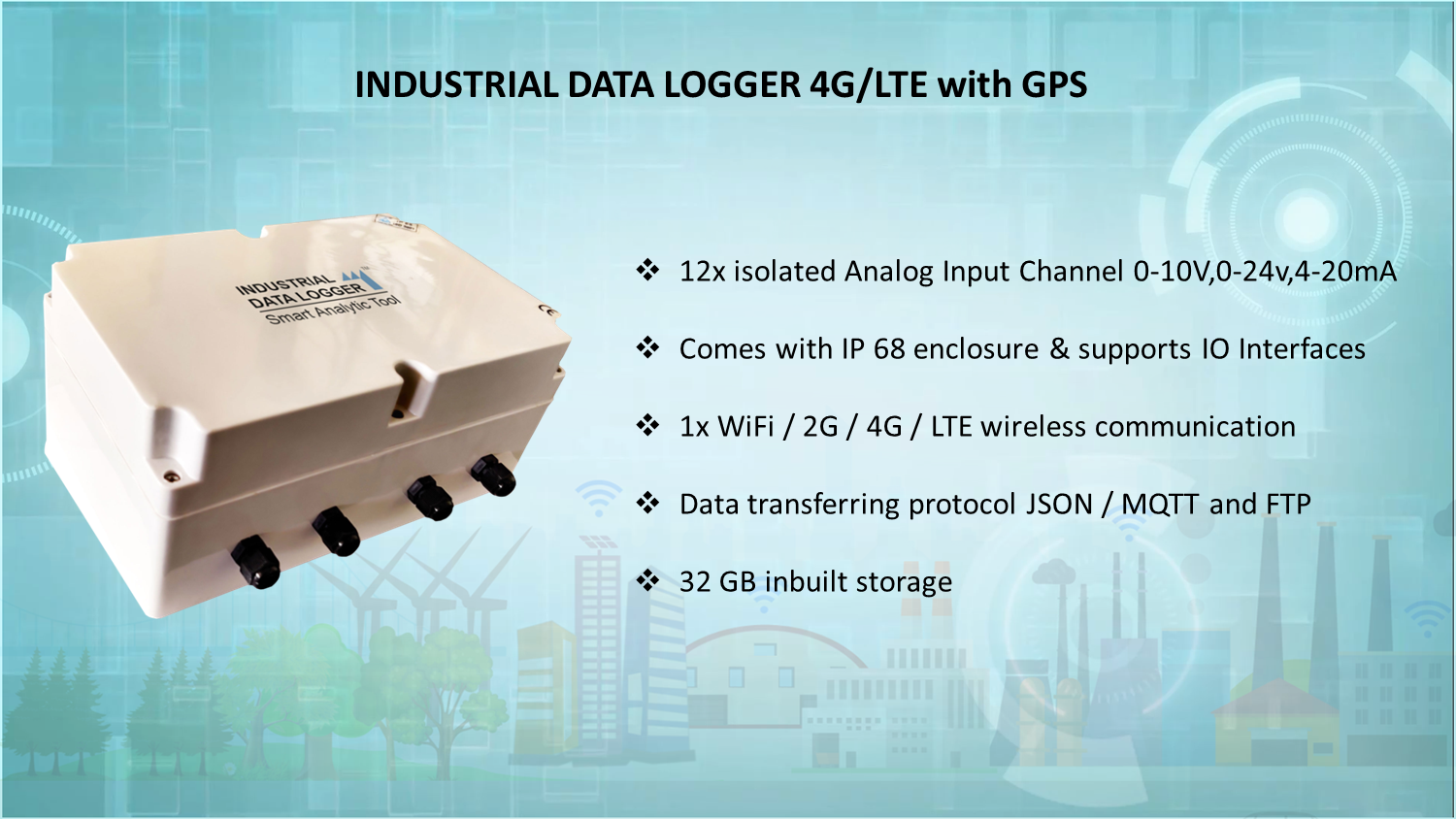 INDUSTRIAL DATA LOGGER 4G/LTE WITH GPS