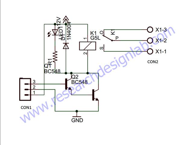 single relay board pcb rh researchdesignlab com Relay Circuit Schematic Relay Circuit Schematic